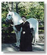 Linda Osterman Hamid with the imported Andalusian stallion Embajador IX