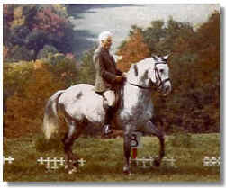 Andalusian stallion Embajador IX shown being ridden by the late Dr. H.L.M. VanSchaik